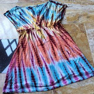 Emerald beach Supersoft tie dye dress/beach cover